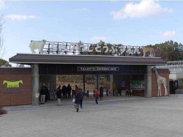 大阪・天王寺動物園の入り口「てんしばゲート」。キリンやホッキョクグマのパネルがお出迎え