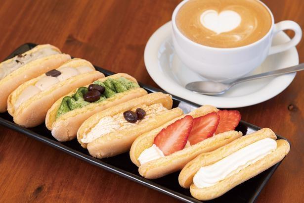 ほんのり甘く、軽い口当たり。右から「生かげろう」(税込100円)、「季節の生かげろう(イチゴ、黒みつきなこ、抹茶、コーヒー、ほうじ茶)」(税込120円~)、「カフェラテ」(450円)/Kagerou Cafe