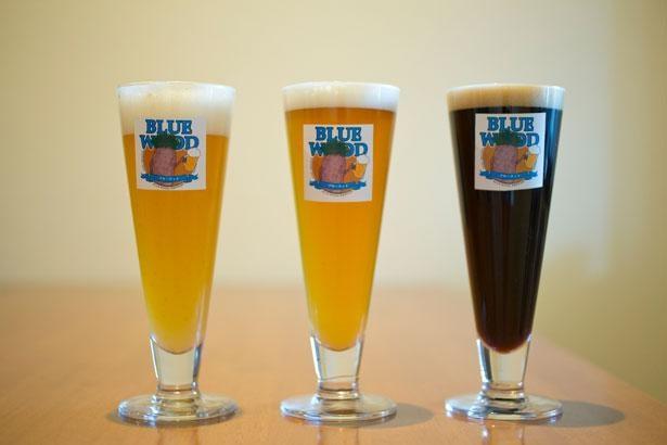 左からみかん、山椒、備長炭を使ったビール/HaruHaru〜韓バル〜