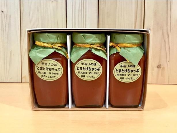 青森県地場セレクトで扱っている、蓬田村の桃太郎トマトで作られた「とまとけちゃっぷ(280g)」(1個税込580円)