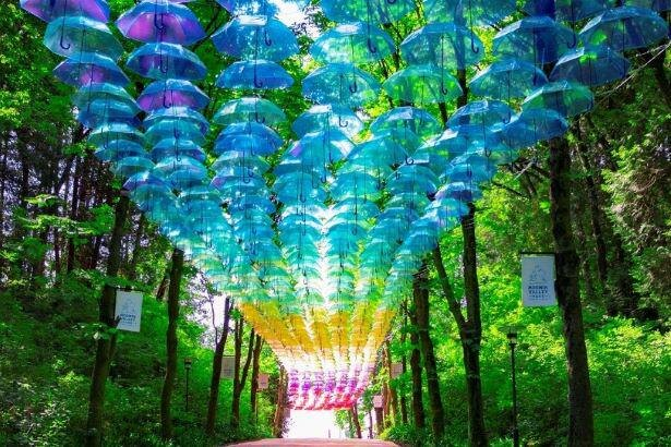 約2000本の傘が広がる「メッツァ アンブレラスカイ・デザインプロジェクト2020」