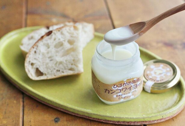 冷たい状態でもとろとろな「カンコワイヨット」。原料は脱脂乳と牛乳、塩のみ / たかすファーマーズ
