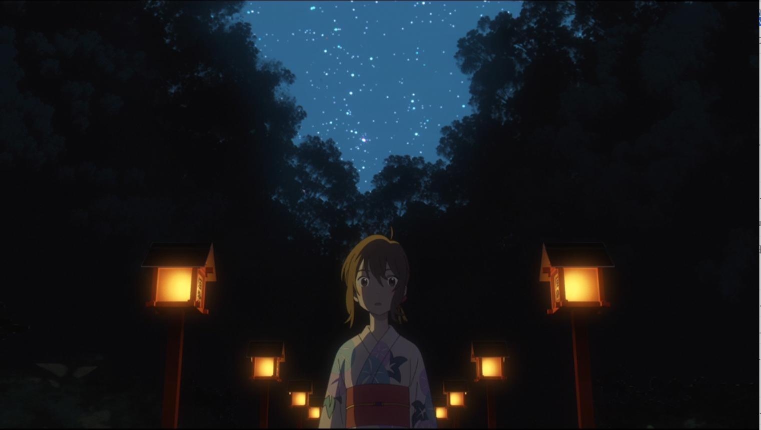 いくつも並んだ灯籠が幻想的な常滑神明社で、ムゲは不思議な出会いをはたす