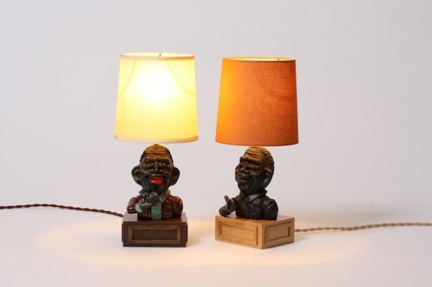 スカルプチャーアーティスト「MASA SCULP」の代表作をベースにしたテーブルランプ。左から「TABLE LAMP PAINT Ver」(税抜4万円※限定1台)、「TABLE LAMP」(税抜3万円※限定20台)