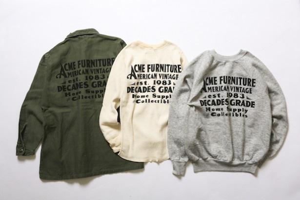 「NUTS ART WORKS」によるサインアートを落とし込んだ古着。左から「MILITARY JACKET」(税抜9800円)、「THERMAL」(税抜6500円)、「SWEAT」(税抜7500円)