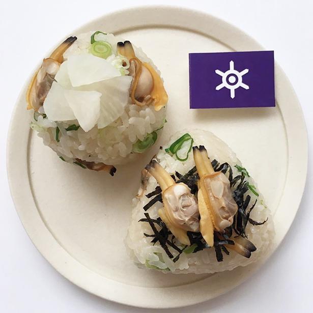 「東京おにぎり」には深川飯やアサリ、べったら漬けなどを使用