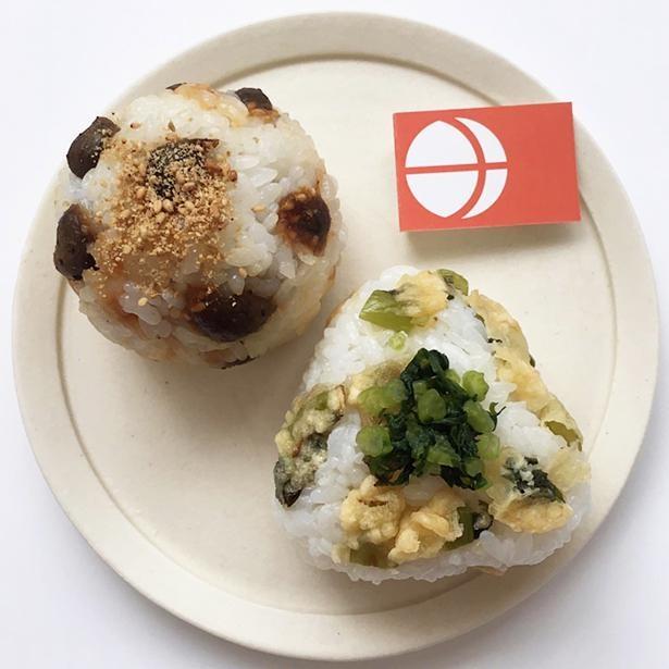 「長野おにぎり」は「野沢菜天ぷらのおにぎり」と「ムカゴの胡麻味噌和えおにぎり」