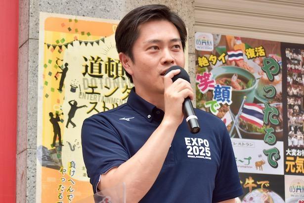 「道頓堀が元気にならないと大阪は元気にならない」と話す吉村洋文・大阪府知事