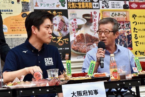 【写真】吉村知事が松井市長に給付金の入金の遅れを指摘。言い争う場面も