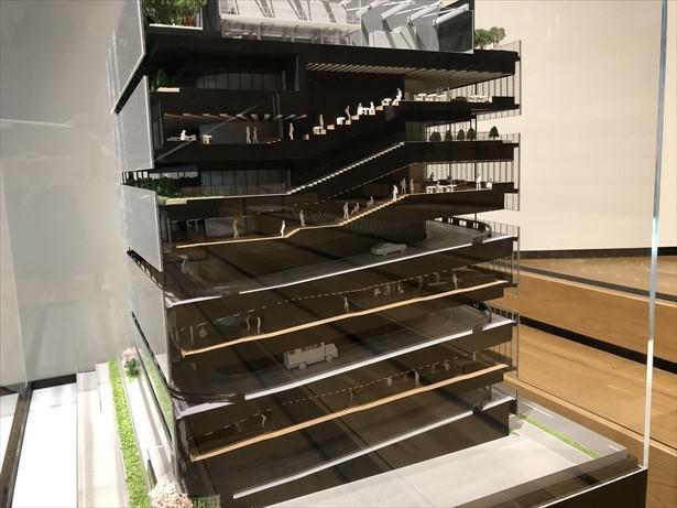 ミュージアムのあるヤマト港南ビルの構造模型。各階の間はトラックが行き来する車道となっている