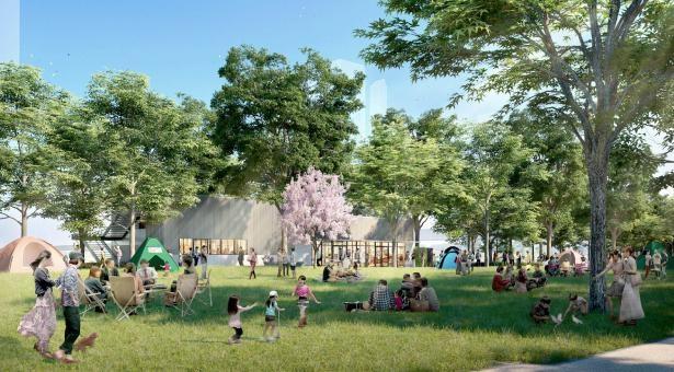 大型芝生広場を擁する、学びの森ゾーン