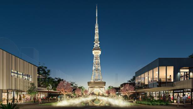 名古屋の魅力を発信する新たなシンボルゾーンでは、水盤ミスト演出が楽しめる