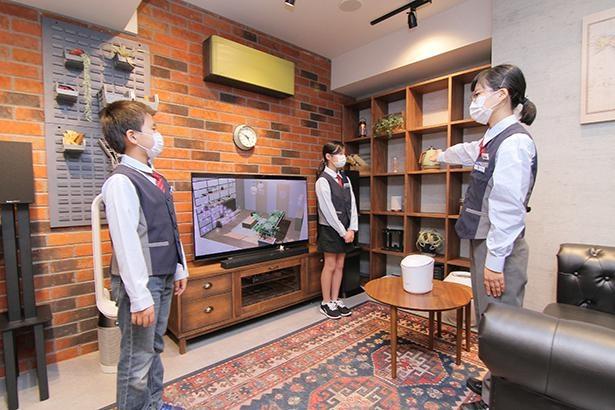 家電の配置や空間演出を学べる「ショールームエリア」