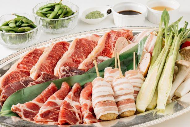スタミナたっぷりの食材で夏を元気に過ごそう「バーベキューセット」(1人4000円)※写真は4人分