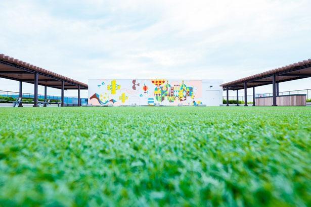 屋上にある壁画のアートは和歌山県出身のアーティストによるもの/屋上テラス