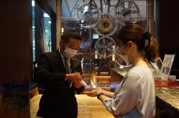 入店時には検温がある。体温が37.5℃以上の場合は利用できない(ホテルグランヴィア京都)