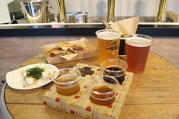 【写真】クラフトビール3種飲み比べセットやキリン一番搾りのほか、ペアリングが楽しめるフードも豊富/クラフトビアガーデン 大阪