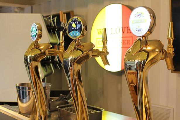 オンザクラウド、496、アフターダークなどタップマルシェで扱う12種類のクラフトビールのほか、一番搾りや関西のクラフトブルワリーのビールも楽しめる