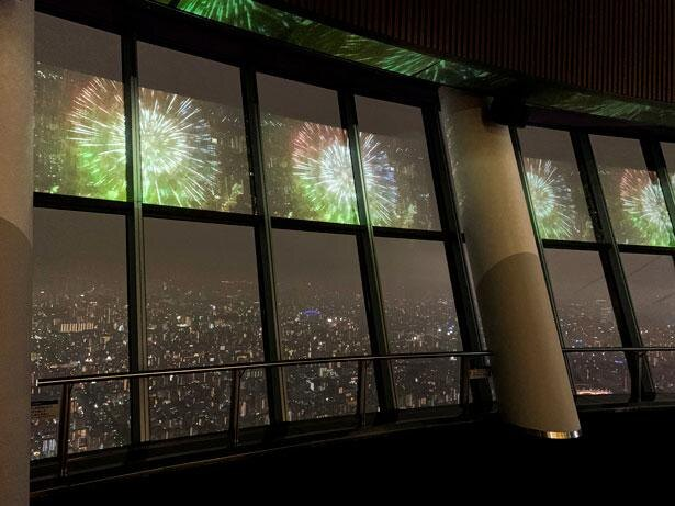 【写真】花火の映像とともに、地上350メートルから見下ろす東京の夜景も楽しめる
