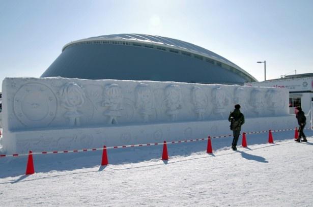 つどーむ会場では雪像展示のほか、ドーム内でグッズ販売も行われている