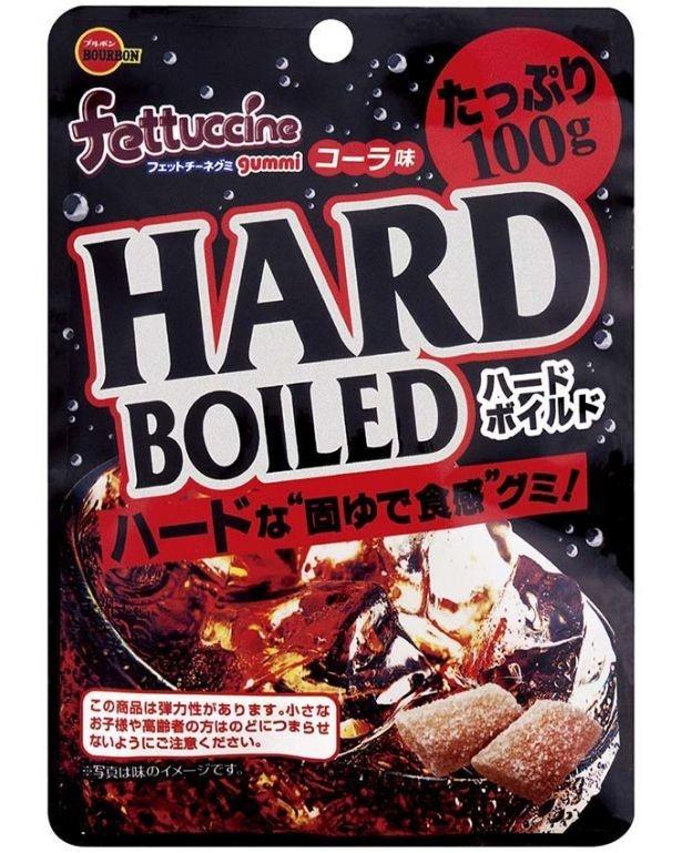 ハードな食感とジンジャーパウダー配合のスパイシーなコーラ味が刺激的な「フェットチーネグミコーラ味 ハードボイルド」(希望小売価格・税抜180円)は2月21日(火)発売