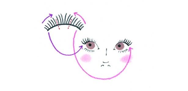 まつ毛が生えている部分より、外側につけると不自然な印象になってしまうので注意して