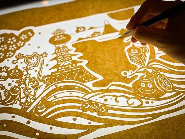 社名ロゴ、包装紙にも取り入れている「型染め」をドラクエ仕様にアレンジ!