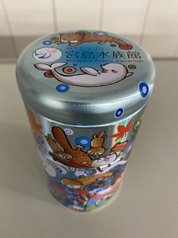 「宮島水族館オリジナル3段缶」(税込) 900円は、クッキー・クラッカー・ラムネ入り