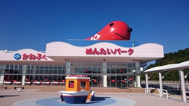 入口ではマスコットキャラクターのタラピヨくんがお迎え! 記念撮影も忘れずにしよう/めんたいパーク 神戸三田