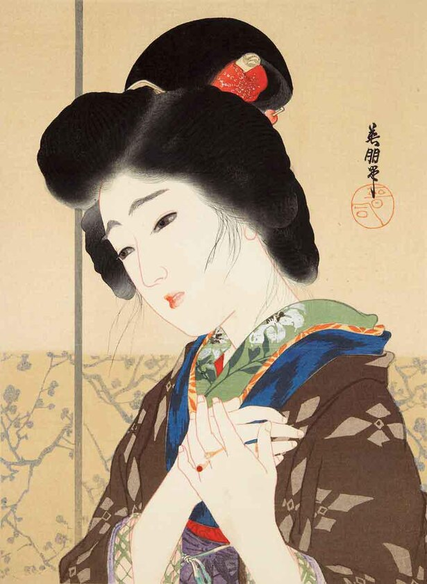 鰭崎英朋 柳川春葉著『誓』前編 口絵 至誠堂書店 大正4(1915)年6月