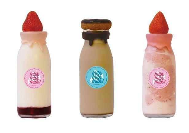 人気の「ミルクボトル」は左から「ストロベリー」、「カフェオレ」(各700円)、「スムージー」(800円)