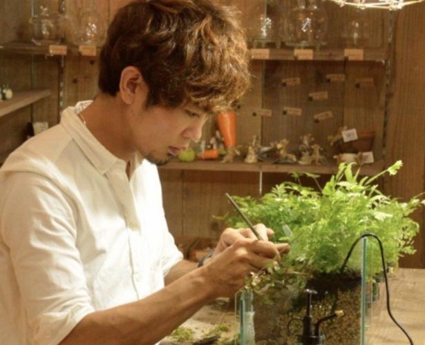 苔テラリウムを制作する今田さん。自然豊かな滋賀県で幼少期を過ごし、自然の美しさや苔に魅了されたそう