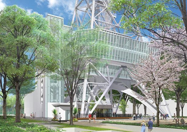 塔の真下にある広場では、地産地消のマーケットなどを開催予定 / 名古屋テレビ塔