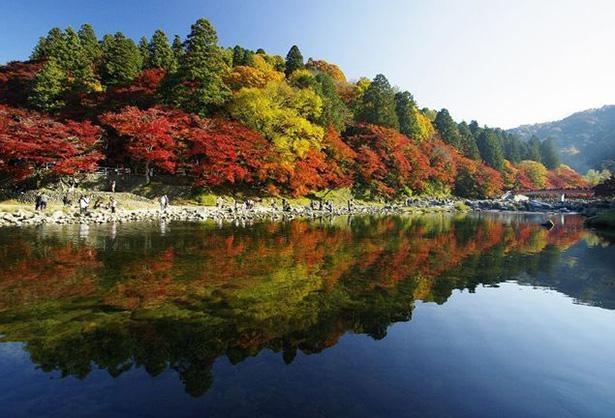 水面に映り込む紅葉の景観美は見事 / 2位:香嵐渓(愛知県)