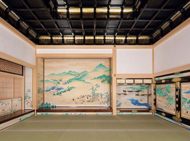 藩主が身内や家臣との私的な対面や宴席に用いた対面所。13歳で紀州(和歌山)から嫁いだ春姫のために故郷和歌山の風景が描かれた襖絵もある