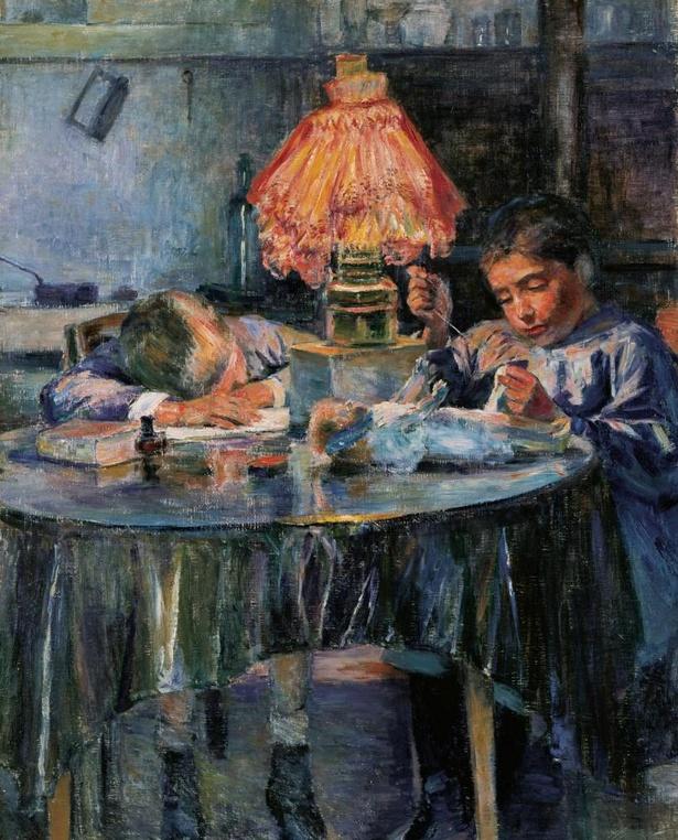 【写真】黒田清輝《洋燈と二児童》 1891年 公益財団法人ひろしま美術館蔵