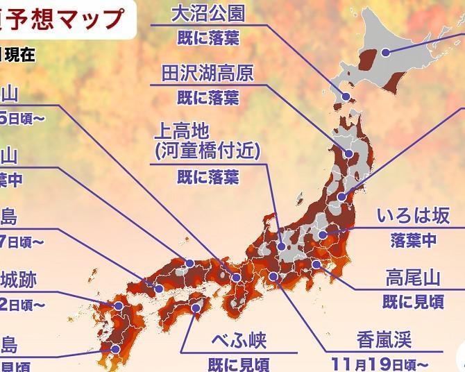 2020年の紅葉見頃時期予想【全国編】東日本・西日本の山の一部や北日本ではやや遅れる可能性も