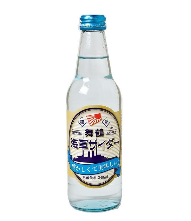 艦内で消火用の炭酸ガスでソーダを作ったという話から生まれた海軍サイダー(250円・税込)/舞鶴赤れんがパーク