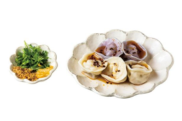 珈琳餃子(550円・税込)。台湾出身のスタッフによる現地の家庭料理をイメージした手作り餃子。中にもサツマイモが/蜜香屋 BATATAS