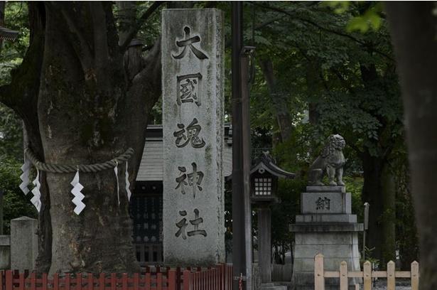 神社の入り口に建つ社号標