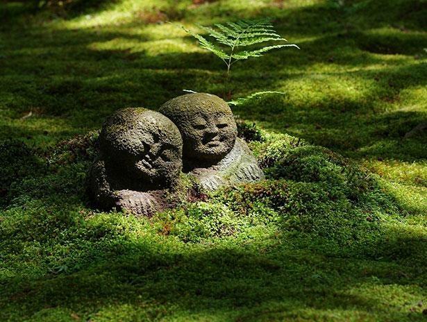 苔むす庭園のいたるところに佇む「わらべ地蔵」を探してみよう※杉村孝、作