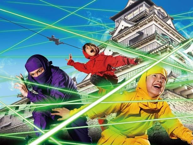 「レーザーミッション 脱出の城」。最後に待ち受ける「レーザーの間」では、縦横無尽に走るレーザーに触れないようにしながら制限時間内にミッションをクリアしよう/東映太秦映画村