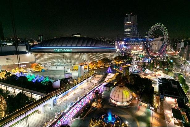 東京ドームシティの全景。さまざまなレジャー施設がそろい、1日たっぷり楽しめる