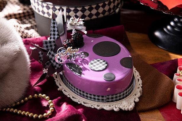 【写真】「これがケーキ?」カクテルパーティーハットをモチーフにした「シャポー・ヴィヨレ」は鮮やかな紫色と格子柄のデコレーションがポイント