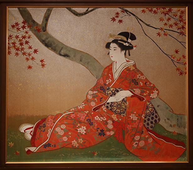 雅叙園アートツアーで、紅葉の描かれた絵画を堪能