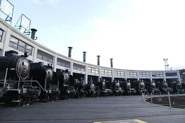 日本最古の鉄筋コンクリート造りの扇形車庫に、20両の蒸気機関車を保存・展示する