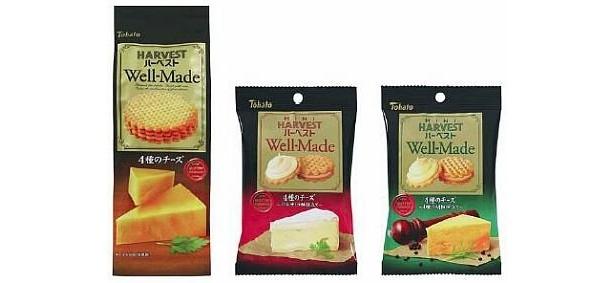 「ハーベスト ウェルメイド」シリーズ。左から「4種のチーズ」、「4種のチーズ〜バルサミコ酢仕立て〜」、「4種のチーズ〜4種の胡椒仕立て〜」