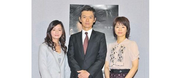 渡部篤郎、石田ゆり子、尾野真千子らは制作発表でお互いに話題をふるなどチームワークの良さを見せた
