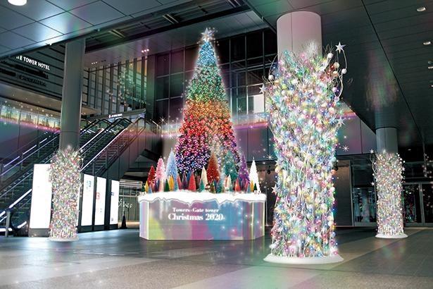 【写真】名古屋エリア最大級の高さを誇る巨大ツリー /「Towers×Gatetower Christmas」