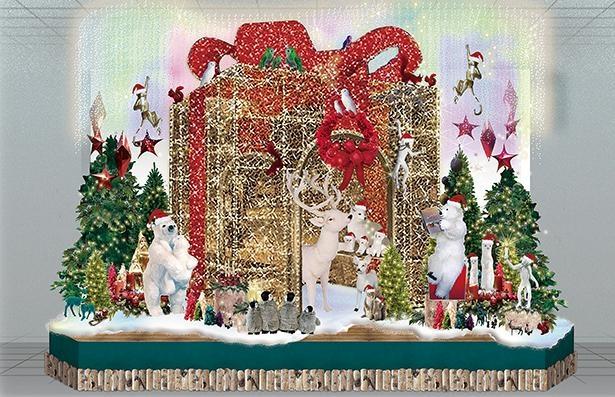 1階メインステージに、プレゼントボックスの周りに動物たちが飾られたモニュメントが登場 /「Takashimaya Christmas」